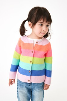 Fluro Rainbow Stripe Cardigan (3mths-7yrs)
