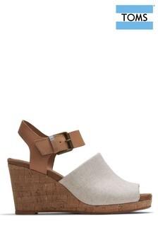 TOMS White Tropez Wedge Sandals