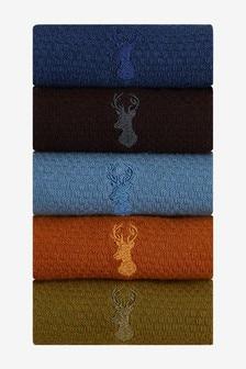 Lot de cinq paires de chaussettes colorées texturées à motif cerf