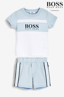 BOSS T-Shirt und Shorts im Set, Blau