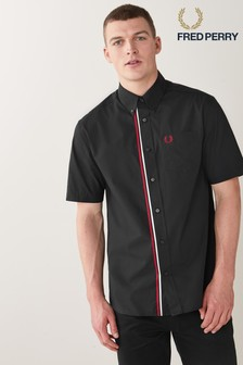 Fred Perry Mens Taped Placket Short Sleeve Shirt