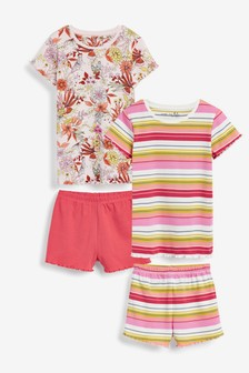 2 Pack Stripe/Floral Short Pyjamas (3-16yrs)