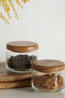 Set of 2 Glass Kitchen Storage Jars