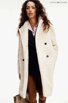 Tommy Hilfiger White Teddy Long Coat