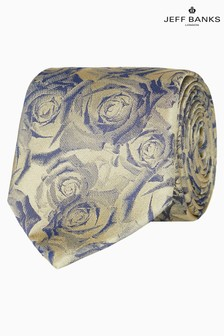 Jeff Banks Gold Digital Style Roses Motif Silk Tie