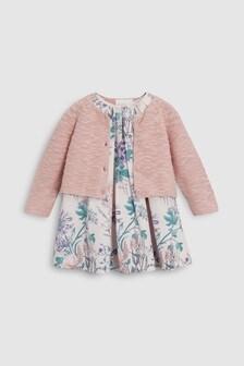 Нарядное платье с цветочным рисунком и кардиган (0 мес. - 2 лет)