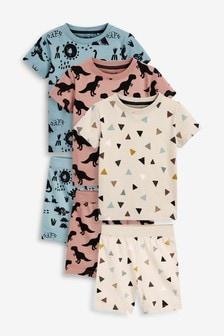 3 Pack Dinosaur Print Short Pyjamas (9mths-8yrs)
