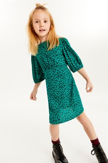 Платье с принтом и пышными рукавами  (3-16 лет)