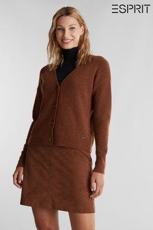 Esprit Brown Long Sleeved Button Cardigan
