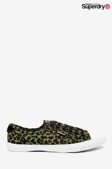 Superdry Low Pro Sneaker mit Leopardenmuster, Olivgrün