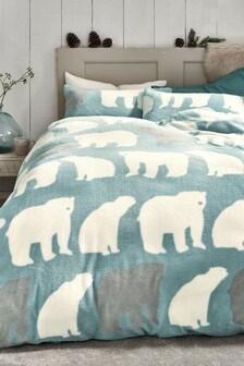 Fleece Polar Bear Duvet Cover And Pillowcase Set