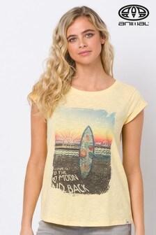 T-shirt Animal Snaps jaune imprimé graphique