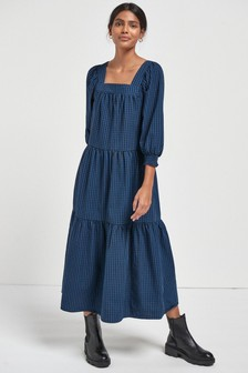 Square Neck Tiered Midi Dress