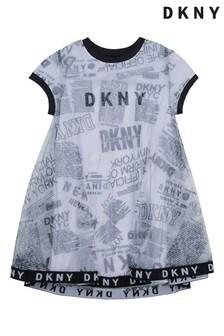 DKNY Kleid mit Grafikprint, Weiß/Schwarz