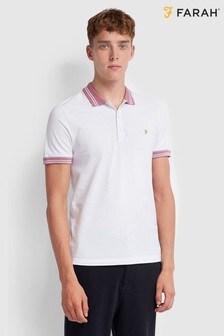 Farah Stanton Pikee-Poloshirt, Weiß