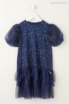 Angel & Rocket Kleid mit Puffärmeln und nach hinten abfallender Taille, Blau