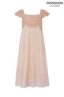 Różowa błyszcząca sukienka Monsoon Estella