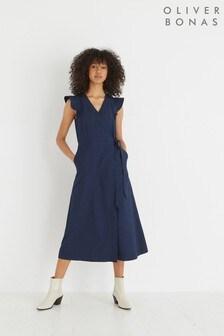Oliver Bonas Navy Blue Ruffle Sleeve Midi Wrap Dress
