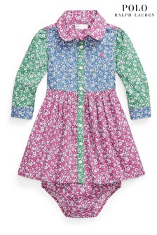 Ralph Lauren Geblümtes Hemdblusenkleid, Pink