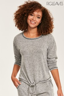 Figleaves Grey Super Soft Tie Front Top