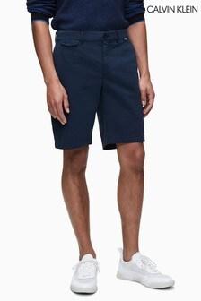 Calvin Klein Slim-Chinoshorts mit Garnfärbung, Blau