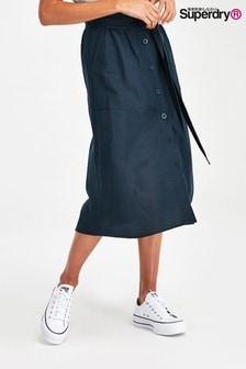 Superdry Navy Eden Linen Skirt