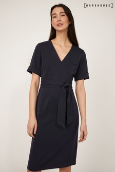 Warehouse Blue Tie Waist Crepe Dress