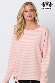 Animal Street Langarm-T-Shirt mit Streifen und Knotendetail, pink