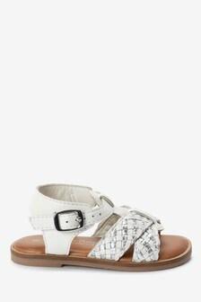 Кожаные плетеные сандалии с Т-образным рмешком (Младшего возраста)