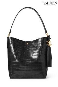 Lauren Ralph Lauren® Black Croc Leather Adley Tote Bag