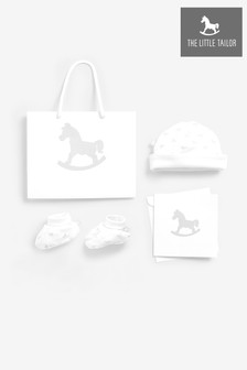 The Little Tailor White Jersey Hat & Bootie Gift Set