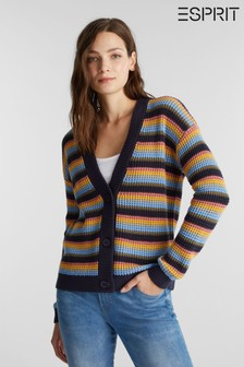 Esprit Womens Blue Long Sleeved Waffle Cardigan