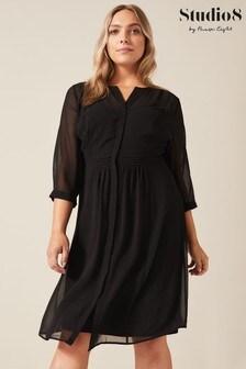 שמלה דגם Juliet Pin Tuck בצבע שחור שלStudio 8