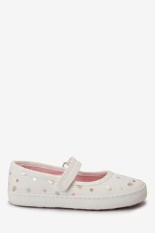 Холщовые туфли с круглым носом и ремешком (Младшего возраста)