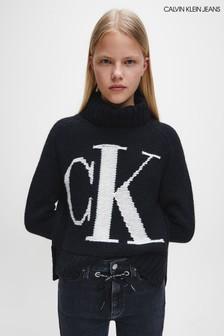 Calvin Klein Jeans Rollkragenpullover mit Logo, Schwarz