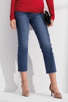 Укороченные джинсы слим с завышенной талией