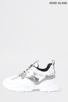 River Island White Panelled Chunky Lace-Up Shoes