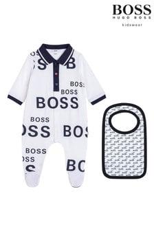 BOSS White/Black All Over Logo Sleepsuit And Bib Gift Set
