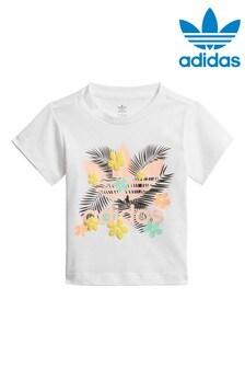Detské biele tričko s tropickou potlačou Adidas Originals