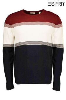 Esprit紅色男裝條紋圓領毛衣