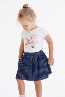 חצאית ג'ינס עם כפתורים לכל האורך וקשירה (3 חודשים-7 שנים)