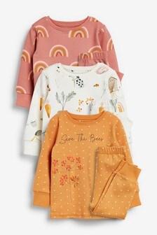Set de 3 pijamale comode cu imprimeu salvează albinele/curcubeu (9 luni - 8 ani)