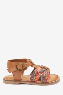 Vypletané kožené sandále s T remienkom (Mladší)