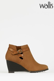 Wallis Amber Tan Buckle Wedge Ankle Boots