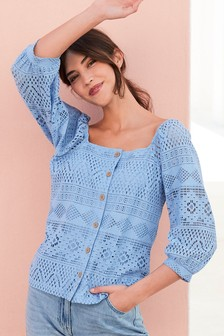 Broderie Square Neck Top