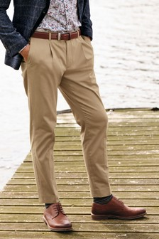 Cotton Stretch Pleated Chino Trousers