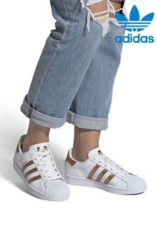 Белые кроссовки с розовой отделкой adidas Originals Superstar