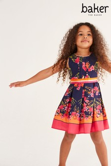 Baker by Ted Baker Girls Bright Floral Border Print Dress