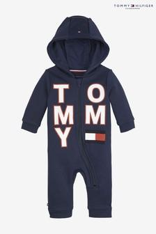 Abrigo con capucha y cremallera con marca grande para bebé de Tommy Hilfiger