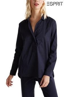 Esprit Langärmelige, seidig glänzende Bluse mit V-Ausschnitt und Knopfdetail, Blau